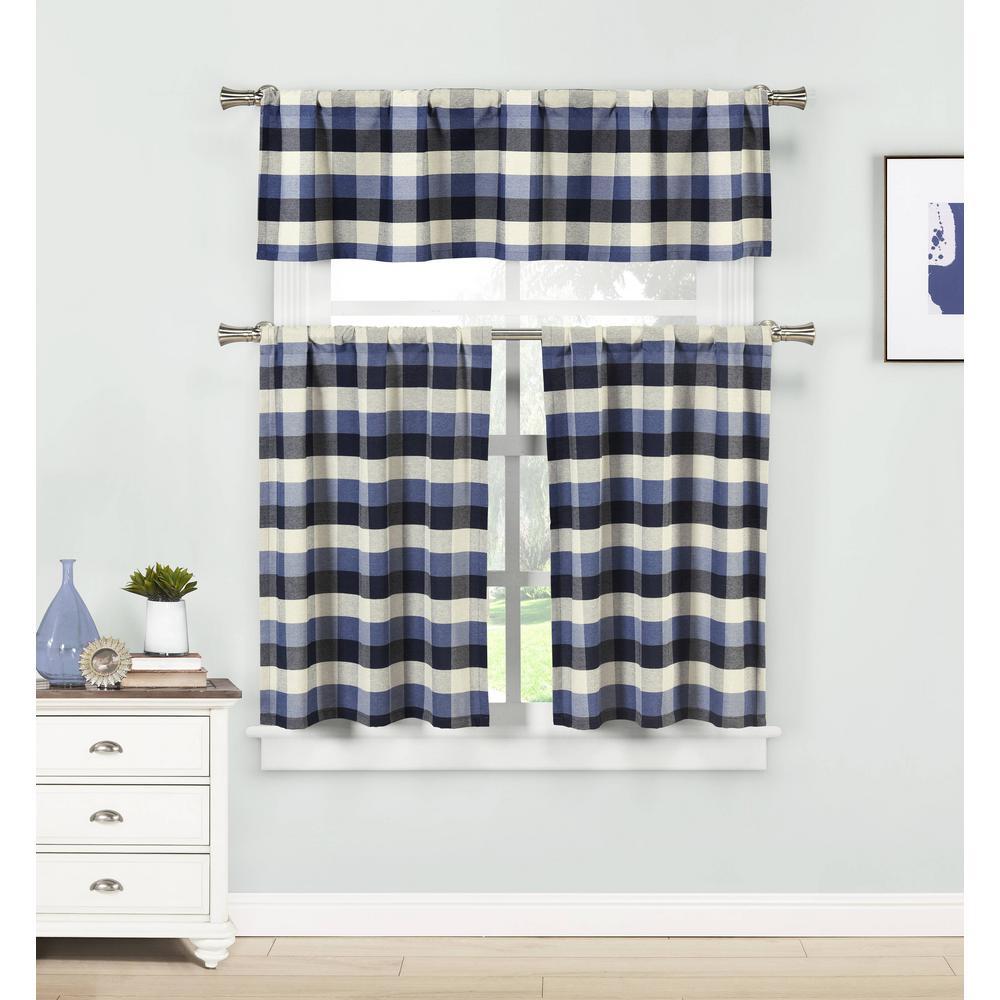 Kingsville Blue Kitchen Curtain Set - 58 in. W x 15 in. L in (3-Piece)
