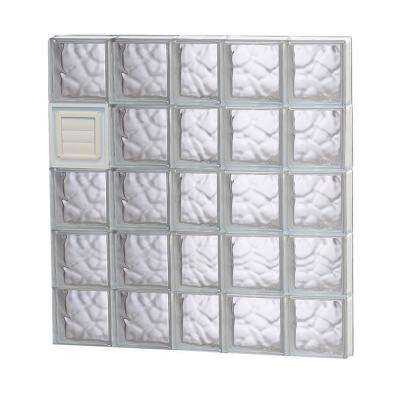 36.75 in. x 38.75 in. x 3.125 in. Wave Pattern Glass Block Window with Dryer Vent