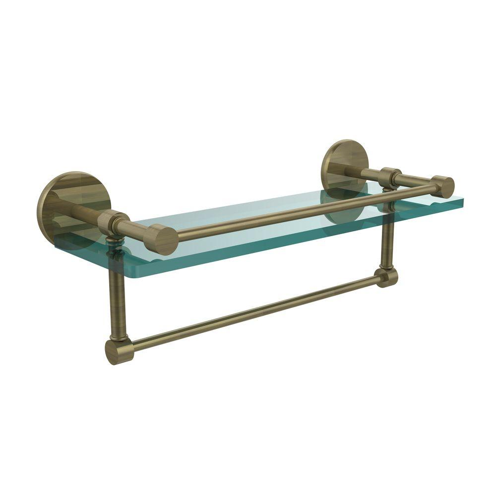 Allied Brass 16 in. L x 5 in. H x 5 in. W Clear Glass Bathroom Shelf ...