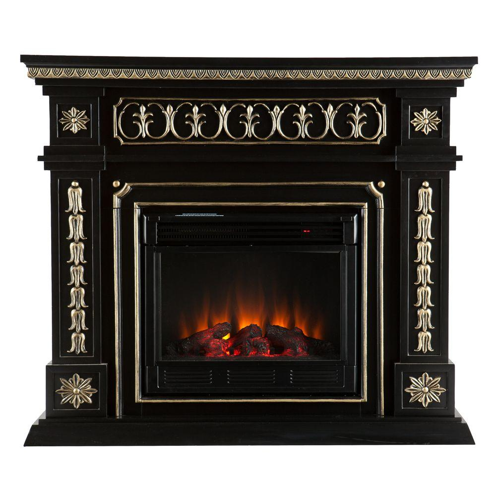 Southern Enterprises Donovan 47 in. Electric Fireplace in Black with Gold Accents