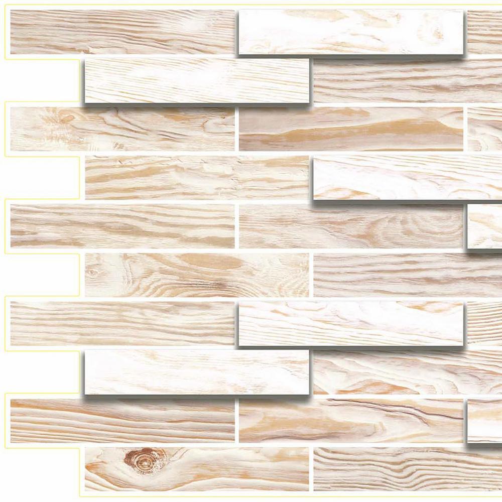3D Falkirk Retro 10/1000 in. x 39 in. x 19 in. Off White Faux Oak Steps PVC Wall Panel