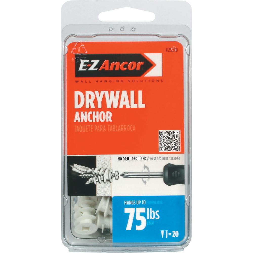 E-Z Ancor Twist-N-Lock #8 x 1-1/4 in. Phillips White Nylon Flat-Head 75 Medium Duty Drywall Anchors with Screws (20-Pack)