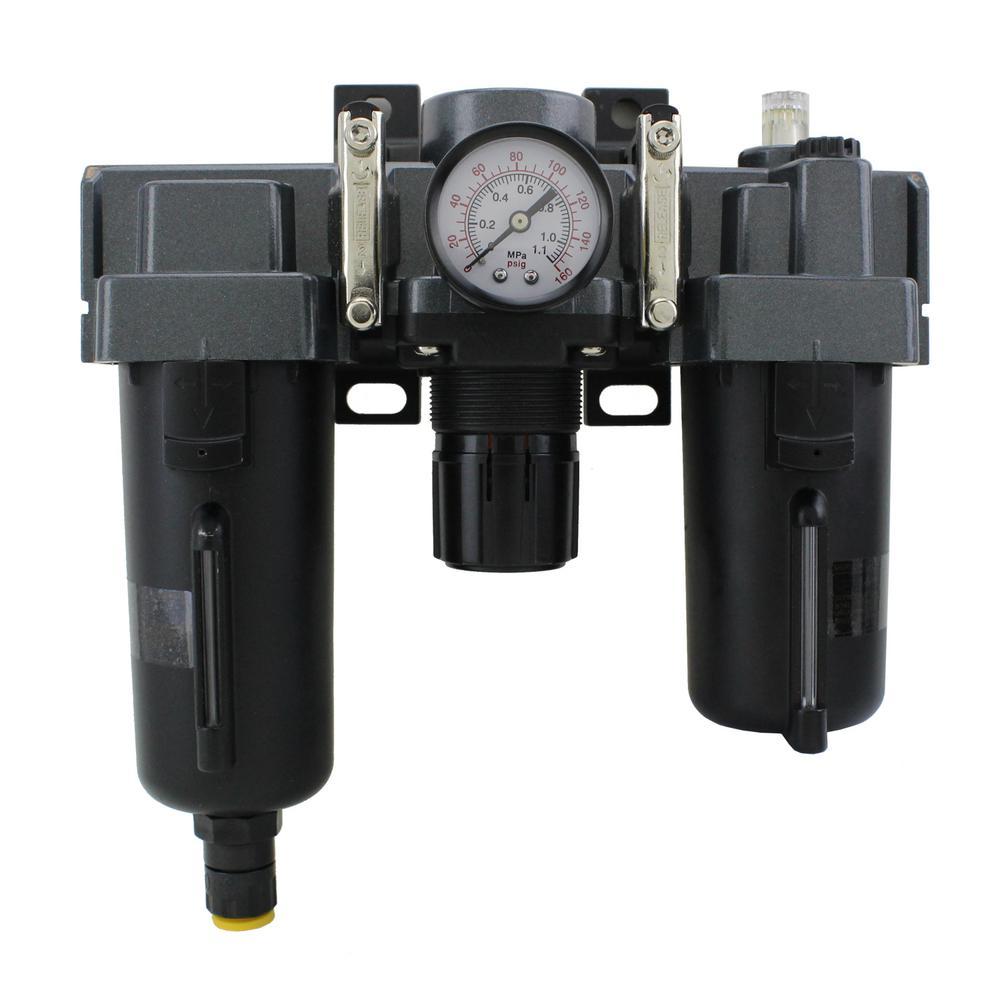 1/4 in. NPT Metal FRL Air Filter Regulator and Lubricator System