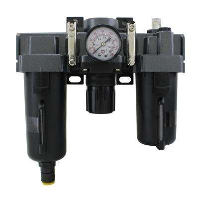 1/4 in. NPT Metal FRL Air Filter Regulator and Lubricator System