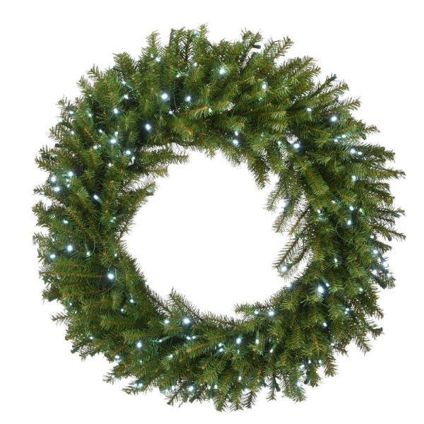 National Tree Company 36 In Norwood Fir Wreath With Memory Shape And 200 Cool White Led Lights Nf3 322l 36wm 1 The Home Depot