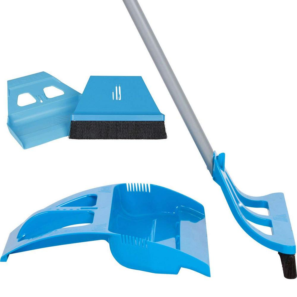 Cleaning Set Blue 1-Handed Telescoping Broom with Foot Operated Dustpan, Mini