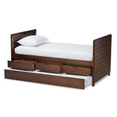 Linna Walnut Brown Twin Daybed with Trundle
