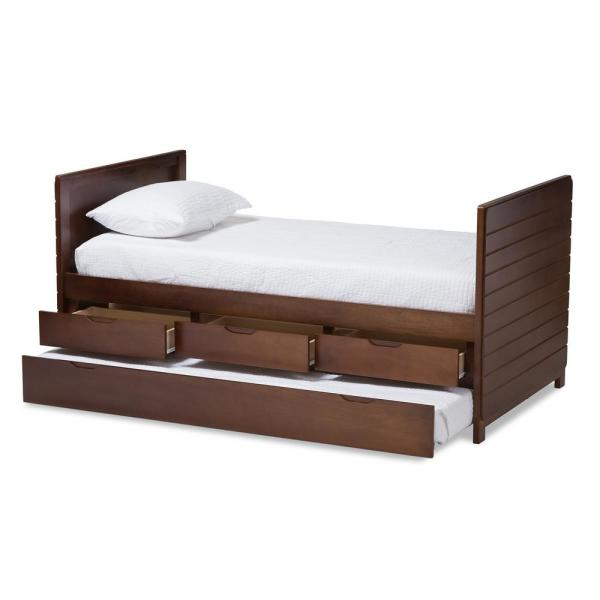 Baxton Studio Linna Walnut Brown Twin Daybed with Trundle 146-8202-HD