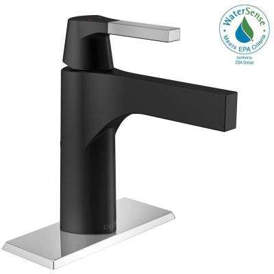 Zura Single Hole Single-Handle Bathroom Faucet in Chrome/Matte Black