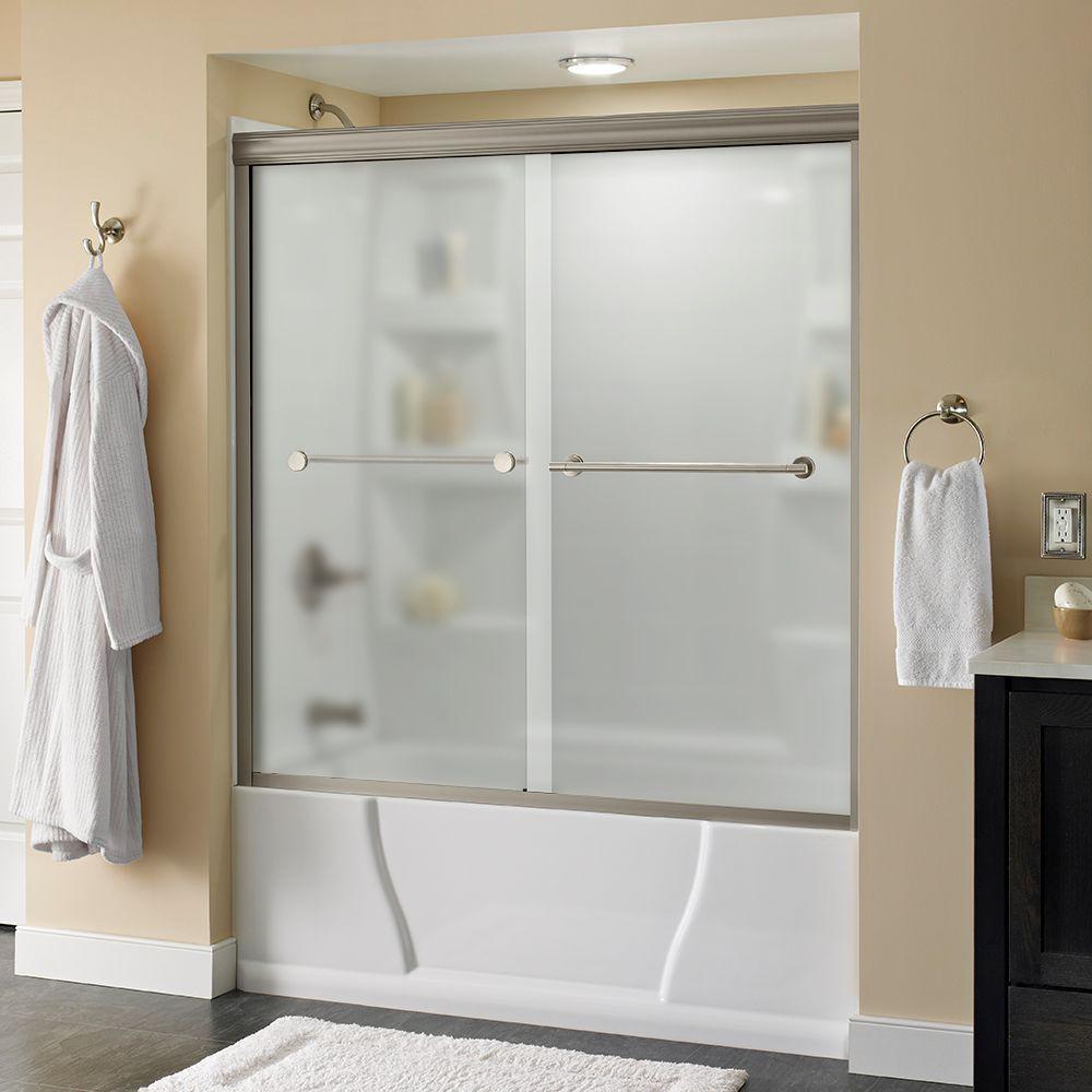 Lyndall 60 in. x 58-1/8 in. Semi-Frameless Sliding Bathtub Door in Nickel with Niebla Glass