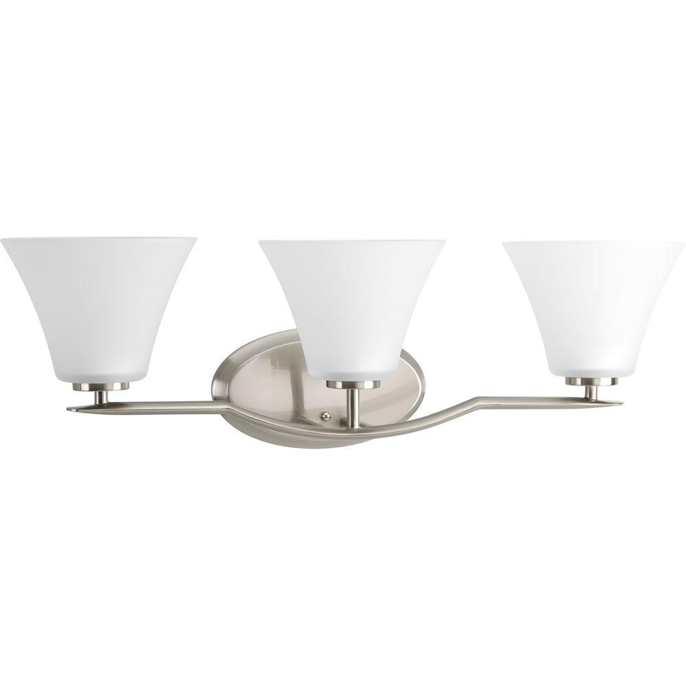 Bravo Collection 3-Light Brushed Nickel Vanity Light with Etched Glass Shades