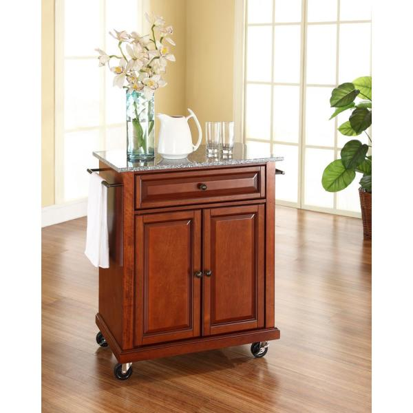 Crosley Cherry Kitchen Cart With Granite Top KF30023ECH