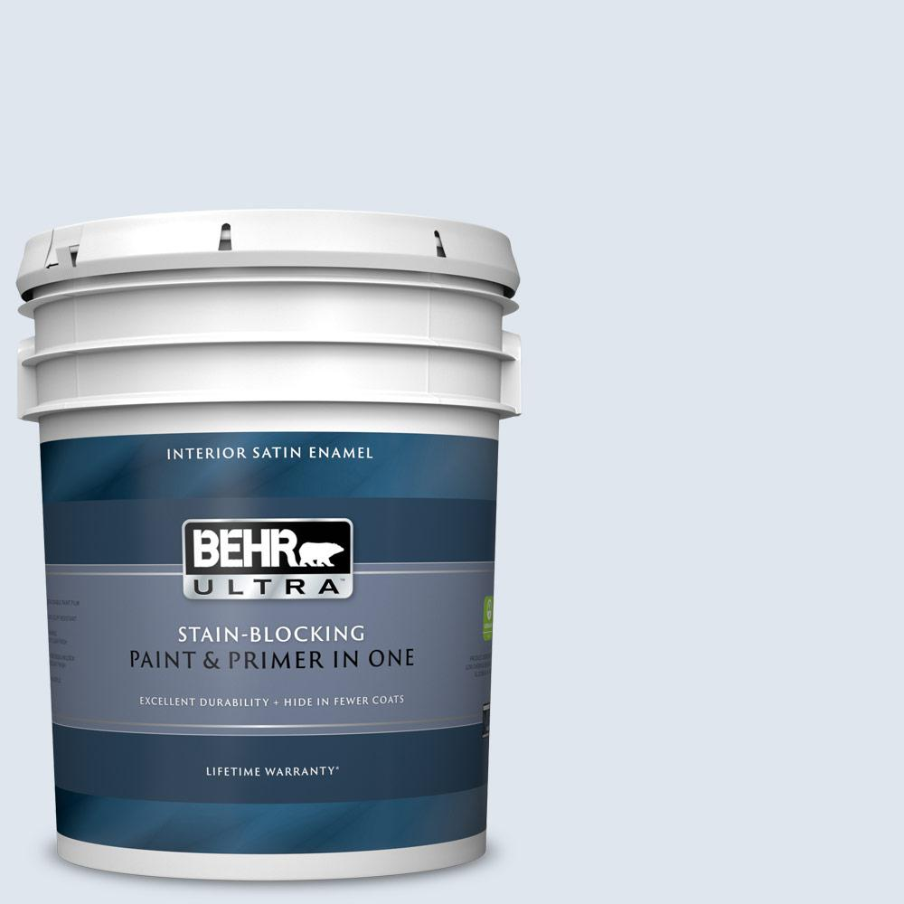 Behr Ultra 5 Gal 580a 1 Fog Satin Enamel Interior Paint And Primer In One 775005 The Home Depot