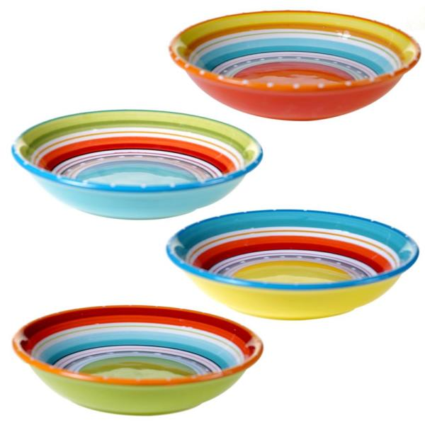 Certified International Mariachi Multi-Colored Soup and Pasta Bowl Set (Set of