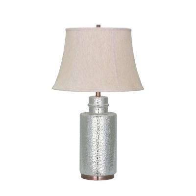 28-1/2 in. Chrome Ceramic Table Lamp with Bell Shaped Lamp Shade in Off White