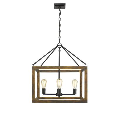 Sutton 4-Light Pendant in Black with Wood Cage
