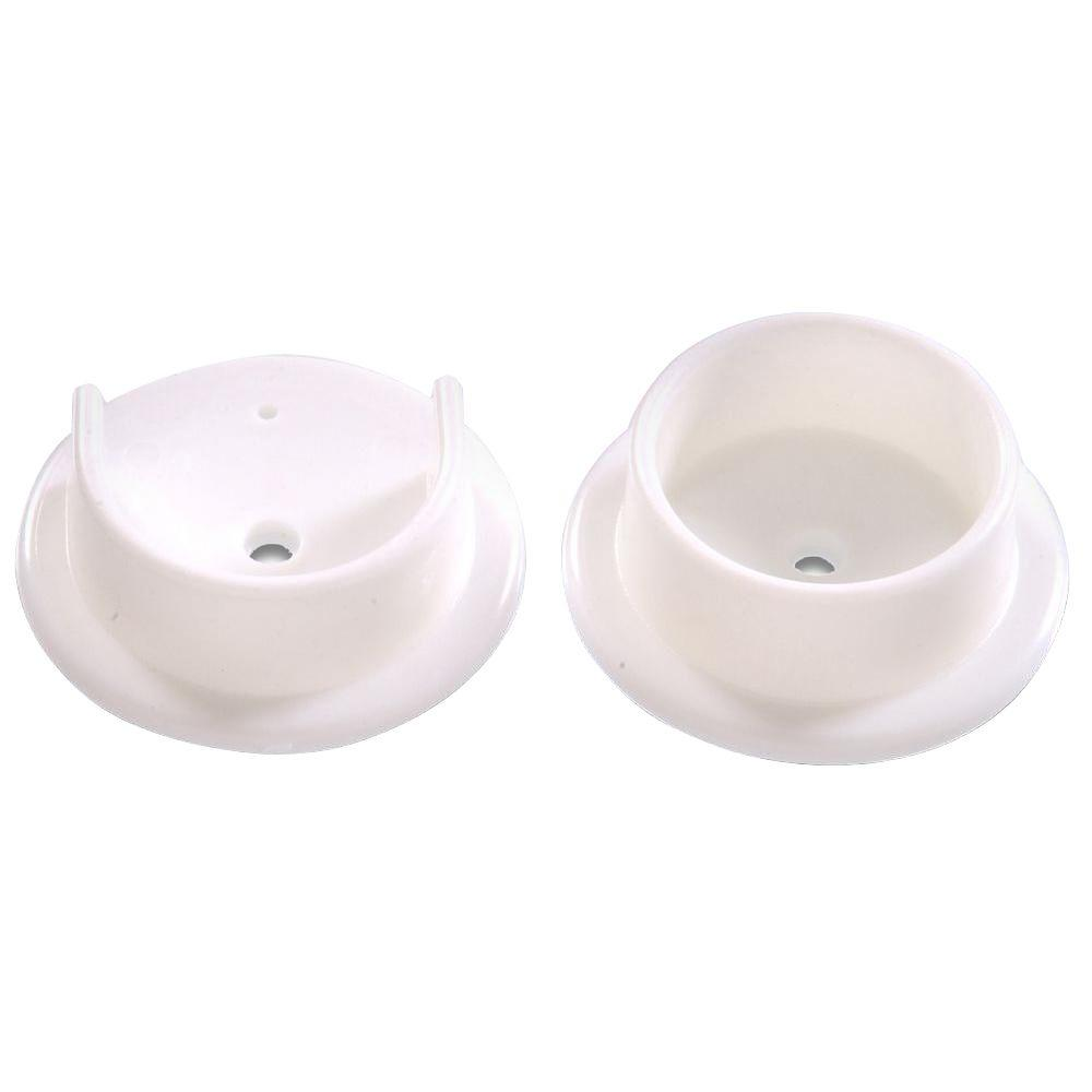 Hillman 1-3/8 in. Plastic Pole Socket Set in White (10-Pack)