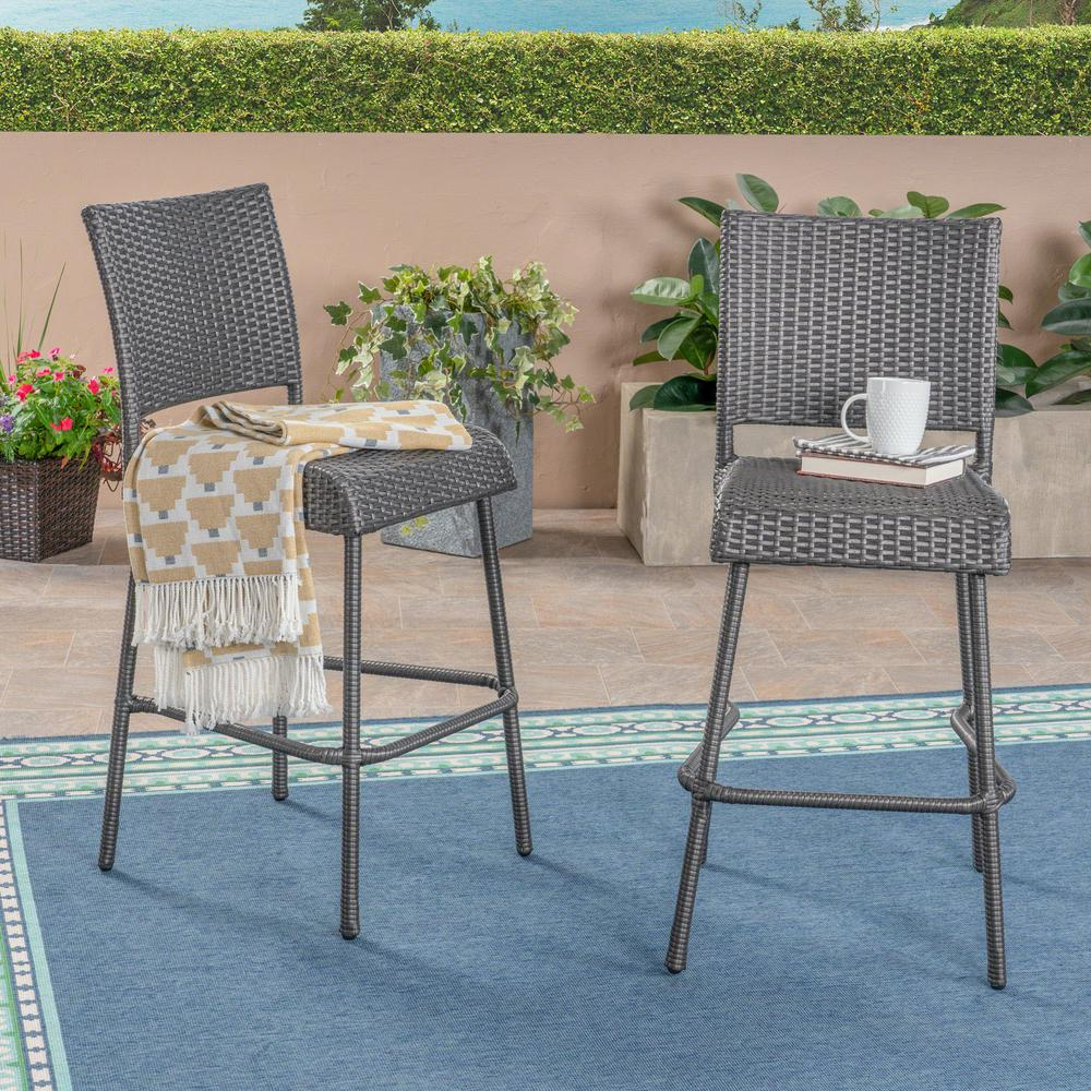 Noble House Timothy Gray Wicker Outdoor Bar Stool 2 Pack