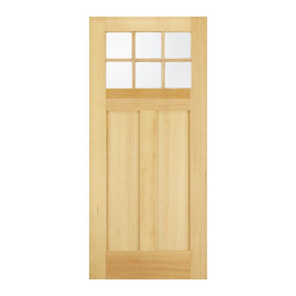 Jeld Wen 32 In X 80 In 6 Lite Unfinished Wood Front Door Slab