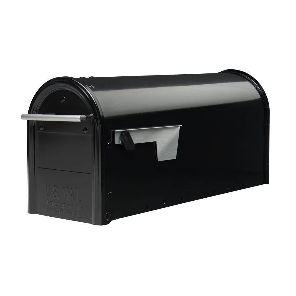 Gibraltar Mailboxes Franklin Medium Galvanized Steel Post-Mount Mailbox in Black