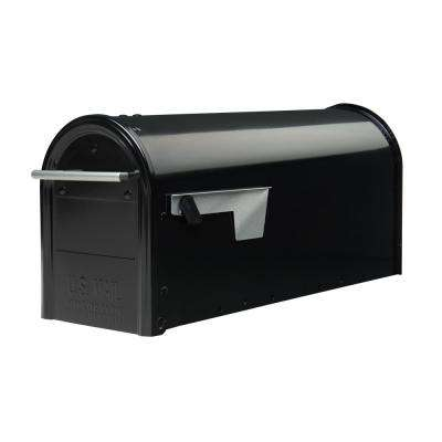 Franklin Medium, Steel, Post Mount Mailbox, Black w/Satin Nickel