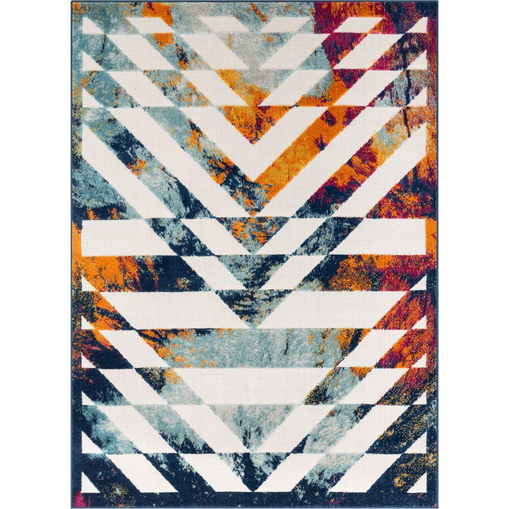 Bright Geometric Stripes Dorado Carmen Multi-Color 7 ft. 10 in. x 9 ft. 10 in. Indoor/Outdoor Area Rug