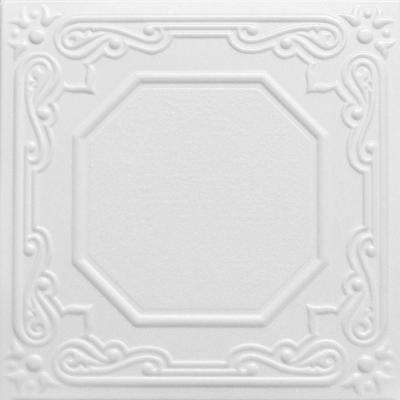 Topkapi Palace 1.6 ft. x 1.6 ft. Glue Up Foam Ceiling Tile in Plain White (21.6 sq. ft./case)