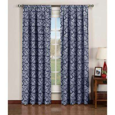 Semi-Opaque Valencia Printed Cotton Extra Wide 84 in. L Rod Pocket Curtain Panel Pair, Indigo (Set of 2)