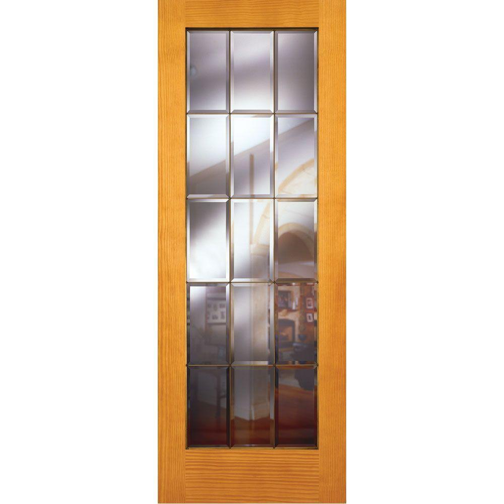 Feather River Doors 30 in. x 80 in. 15 Lite Unfinished Pine Clear Bevel Brass Woodgrain Interior Door Slab