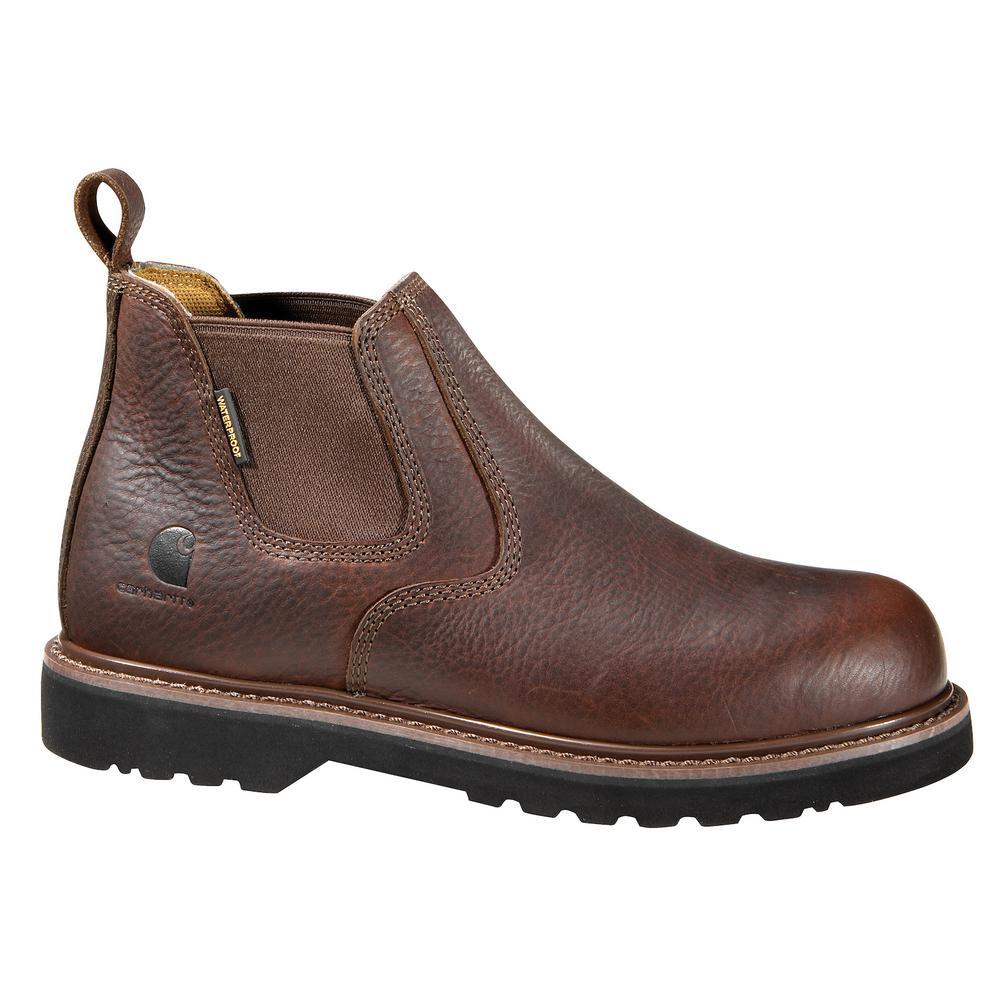 0436494b859 Carhartt Men's 12M Brown Leather Waterproof Soft Toe 4 in. Romeo Work Boot