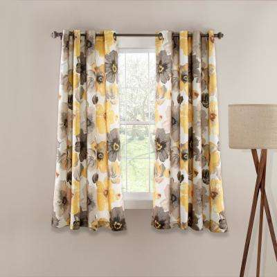 Leah 63 in. x 52 in. 100% Polyester Window Panels in Yellow