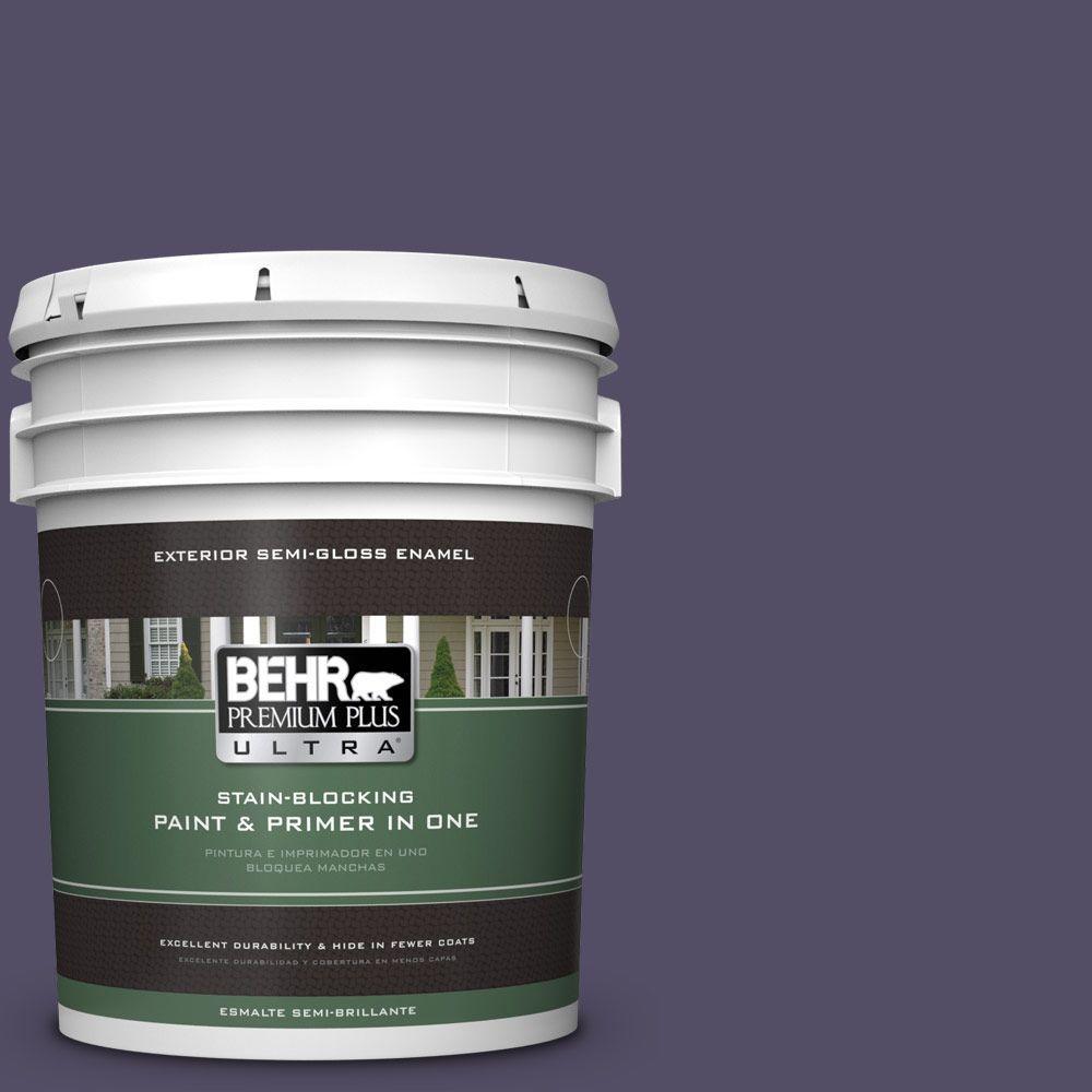 BEHR Premium Plus Ultra 5-gal. #650F-7 Violet Eclipse Semi-Gloss Enamel Exterior Paint