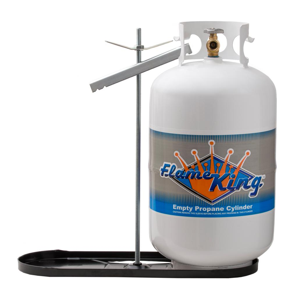 Flame King Rv Propane Gas Double Bottle Rack For 40 Lbs Cylinder Kit Dual Hold Down Rack Kt40mnt The Home Depot