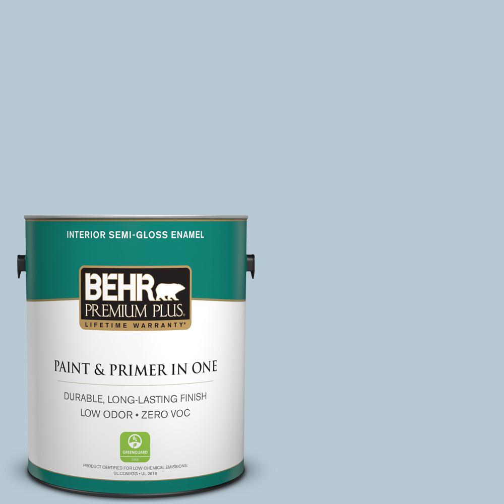 BEHR Premium Plus 1 gal. #PPU14-15 Denim Light Zero VOC Semi-Gloss Enamel Interior Paint
