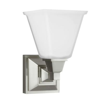 Denhelm 1-Light Brushed Nickel Wall/Bath Sconce with Inside White Painted Etched Glass