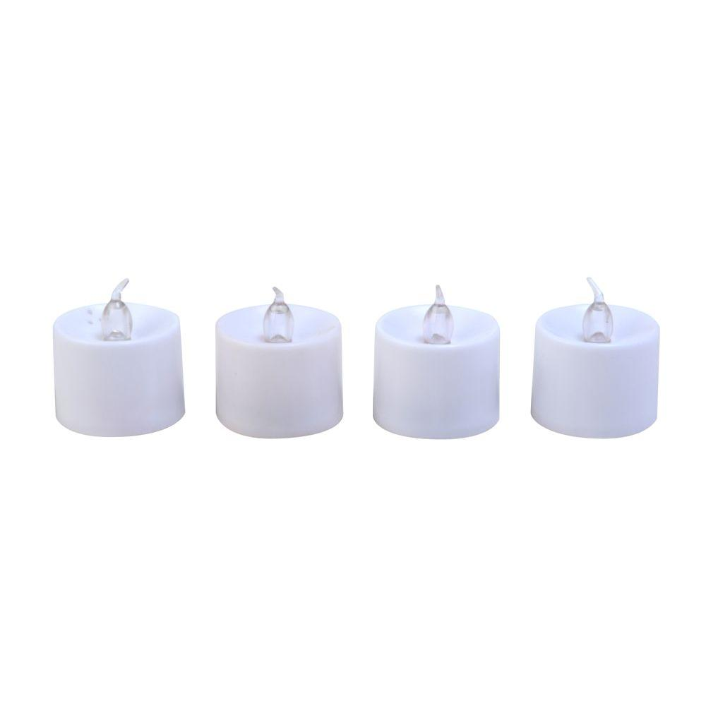 White Flameless Flickering Tealight Candles (8-Pack), Beige / Ivory