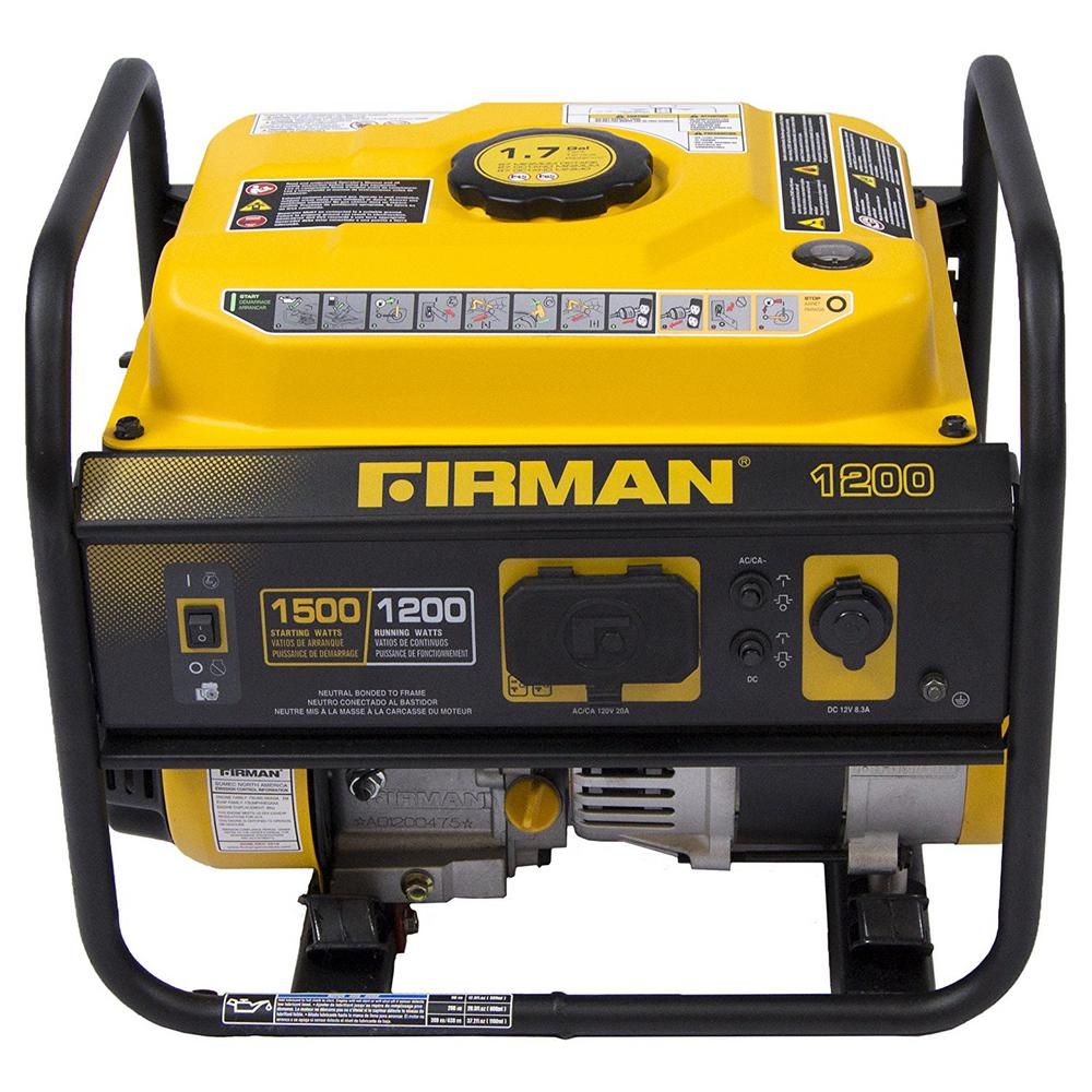 1200-Watt Gas Powered Recoil Start Portable Generator wit...