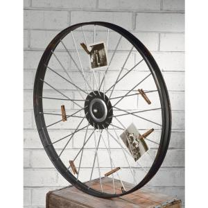 Metal Wheel Wall Decor With Clips for Photos or Cards by