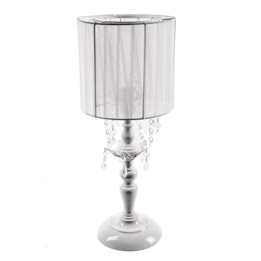 Merveilleux White Chandelier Table Lamp With Drum Shade