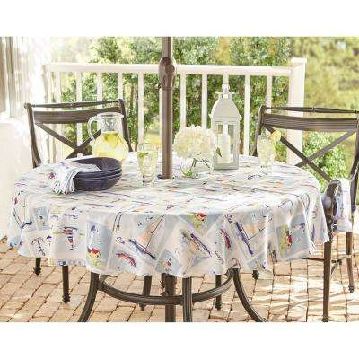 Sail Away Multi Stain Resistant Indoor Outdoor Tablecloth with Umbrella Hole