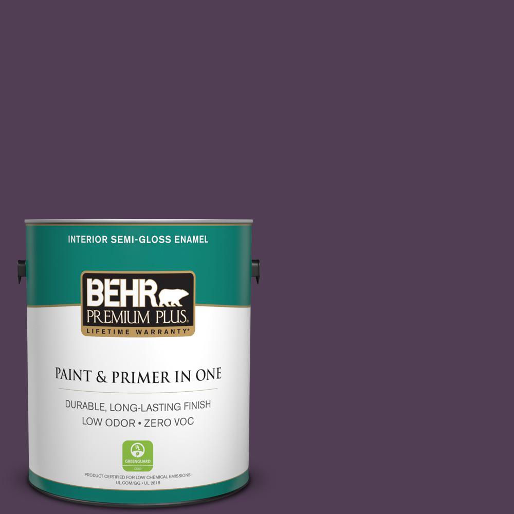 BEHR Premium Plus 1-gal. #S-H-690 Interlude Zero VOC Semi-Gloss Enamel Interior Paint