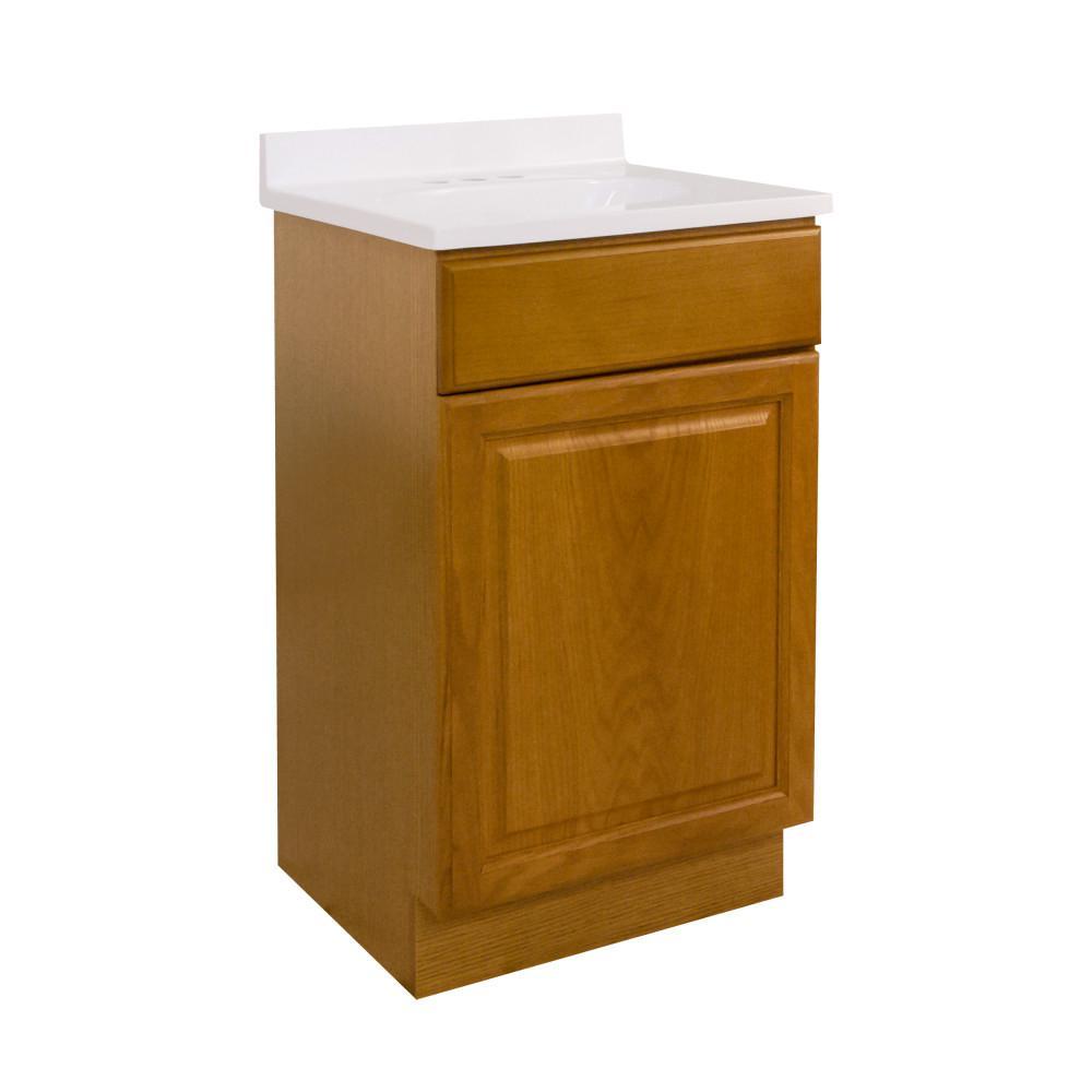 18 in. x 16 in. x 33 in. 1-Door Bath Vanity in Honey Oak with 4 in. Centerset Solid White CM Vanity Top with Basin