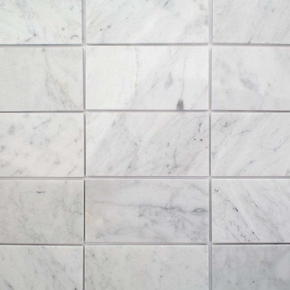 White Carrara 3 In X 6 9mm Polished Marble Subway Tile 40 Pieces 5 Sq Ft Box