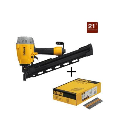 Pneumatic 21-Degree Collated Framing Nailer with Bonus 3 in. x 0.131 in. Metal Framing Nails (2000-Pack)