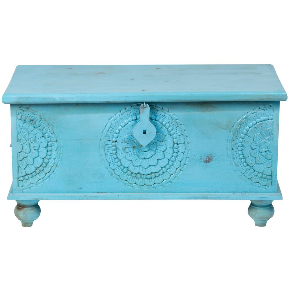 good Teal Storage Trunk Part - 9: Leela Blue Hand-Carved Medallion Storage Trunk-Coffee Table