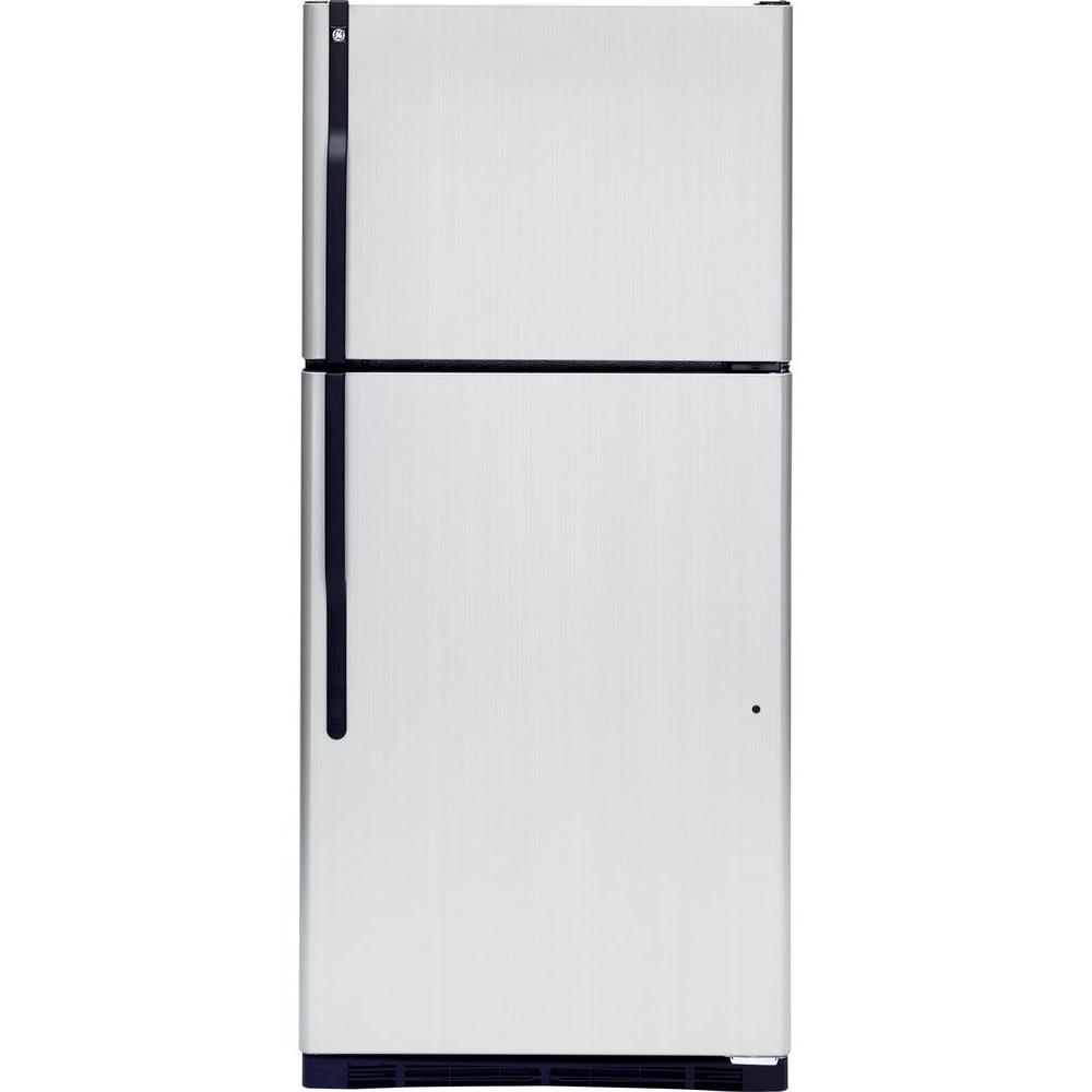 GE 18 cu. ft. Top Freezer Refrigerator in CleanSteel