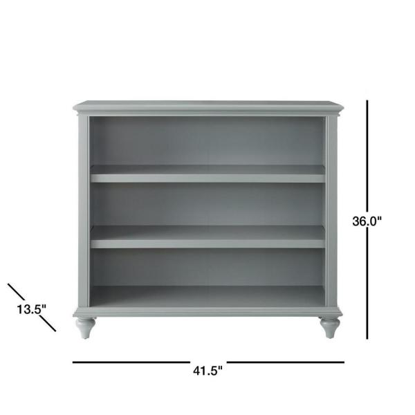 Home Decorators Collection - 36 in. Distressed Gray Wood 3-shelf Accent Bookcase with Adjustable Shelves