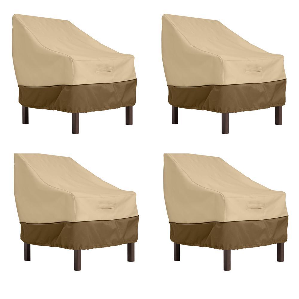 Veranda Pebble/Bark Standard Dining Patio Chair Cover (4-Pack)