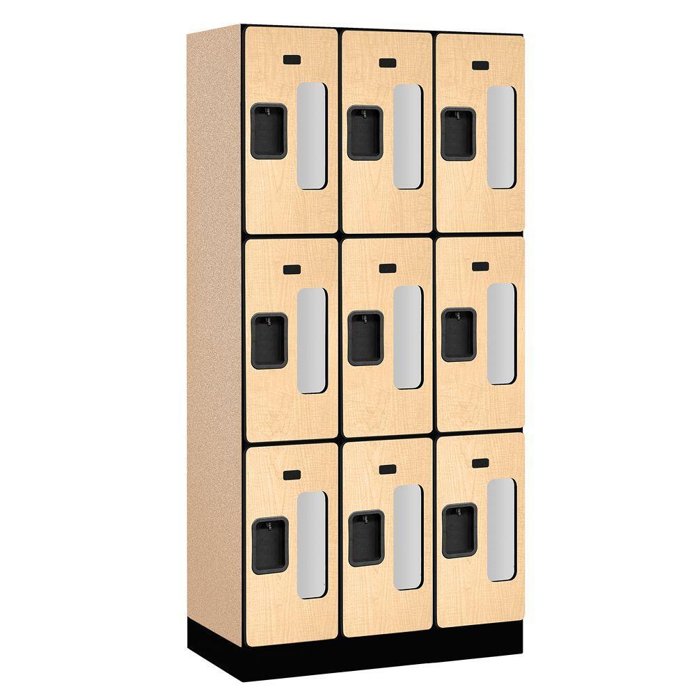 Salsbury Industries S-33000 Series 36 in. W x 76 in. H x 18 in. D 3-Tier See-Through Designer Wood Locker in Maple
