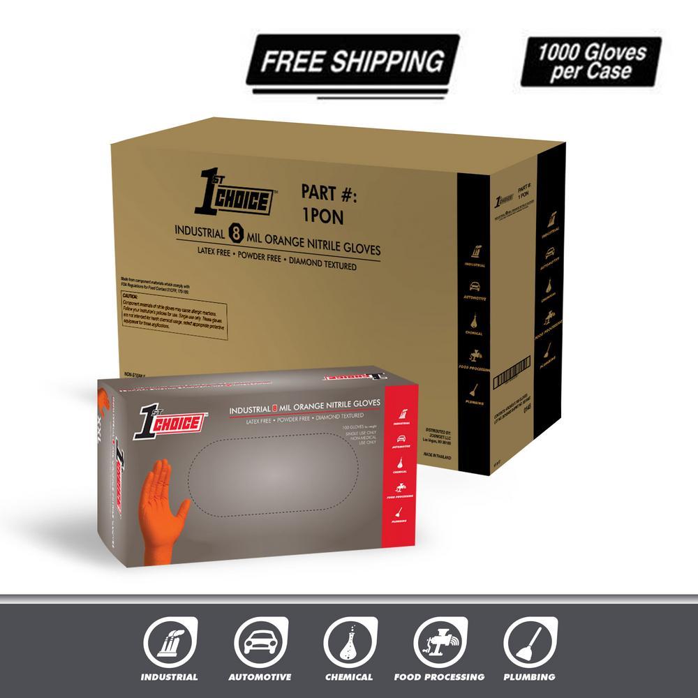 Premium Orange Nitrile Industrial Latex Free Disposable Gloves (Case of 400)